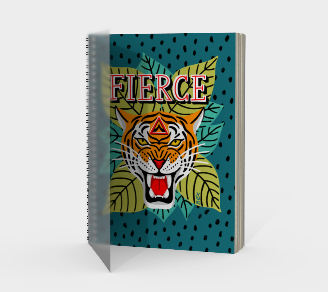 Aperçu de FIERCE tiger. Motivational art spiral notebook.