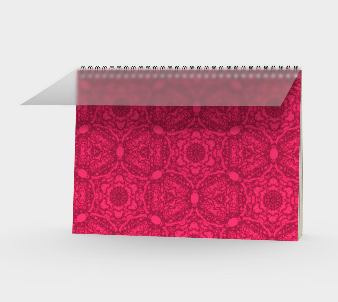 Bright Pink Lacey Pattern Landscape Spiral Notebook  aperçu