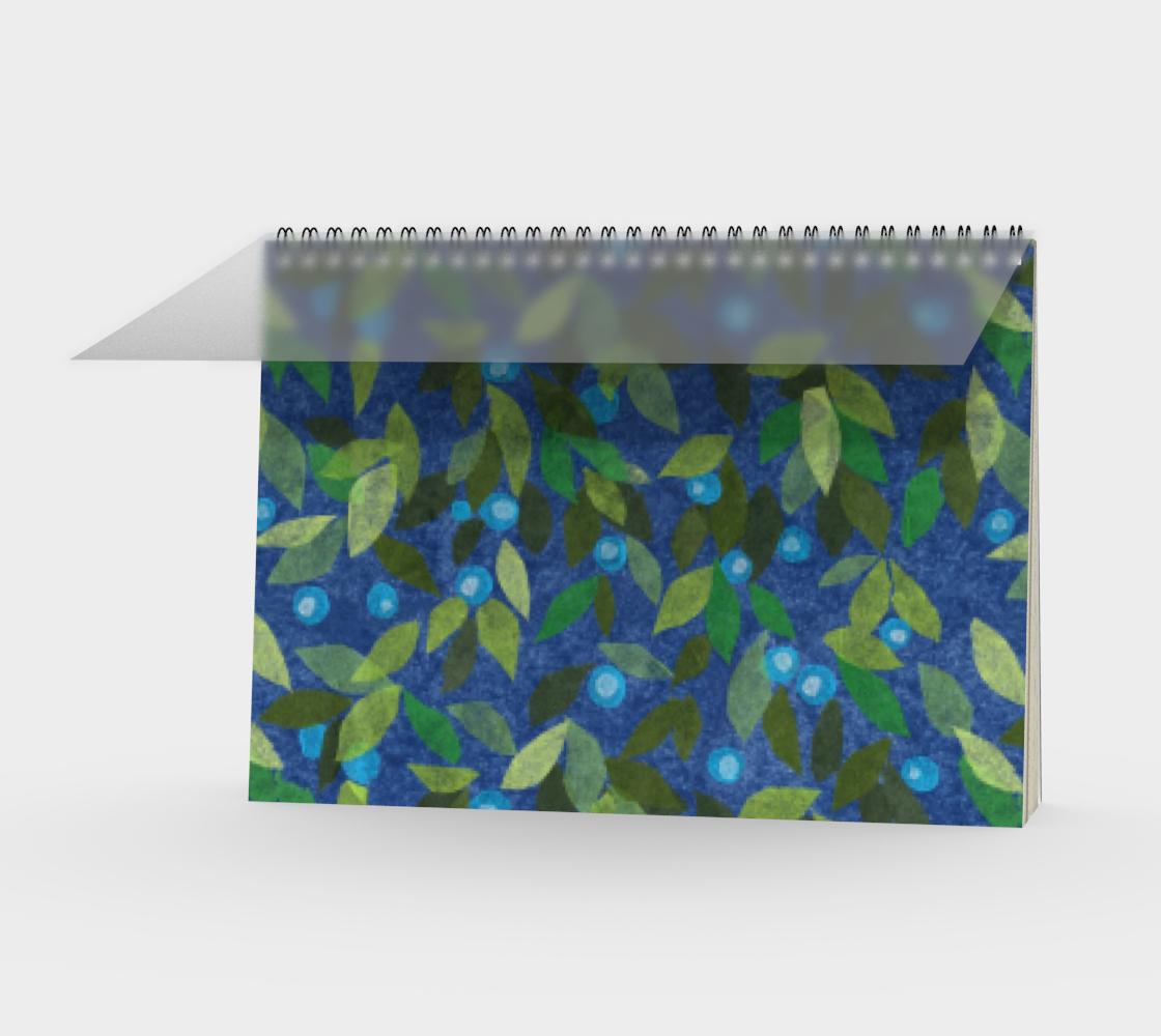 Aperçu de Blue Berries Green Leaves Simple Botanica Floral Pattern Spiral Notebook