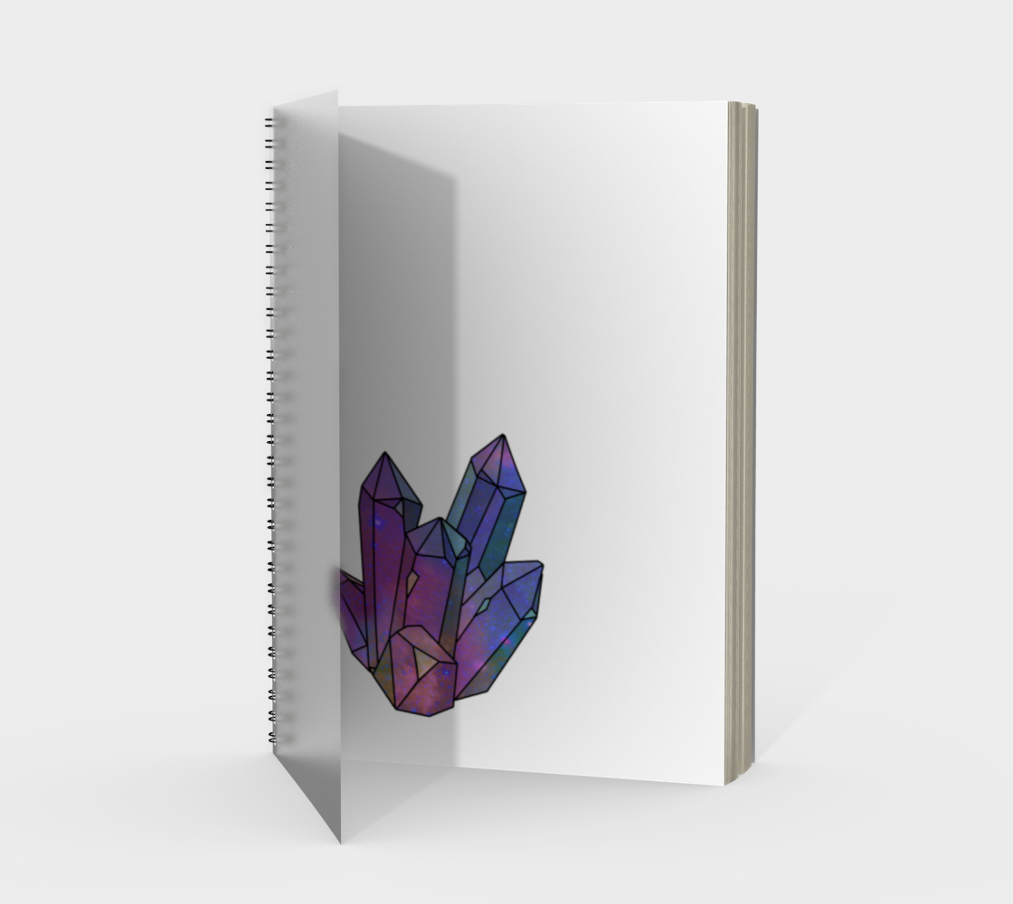 Cosmic Crystals Amethyst Rainbow Spiral Notebook White preview