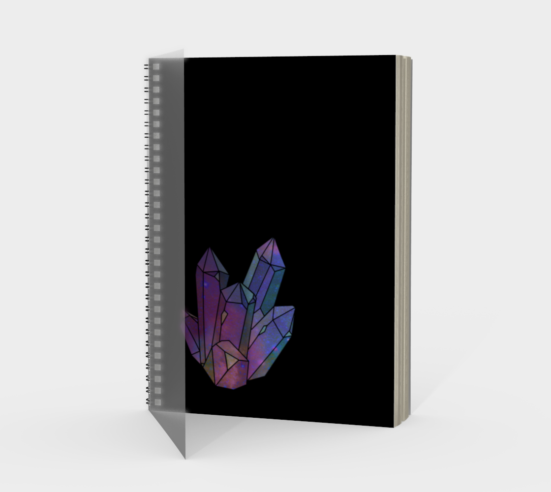 Cosmic Crystals Amethyst Rainbow Spiral Notebook Black preview