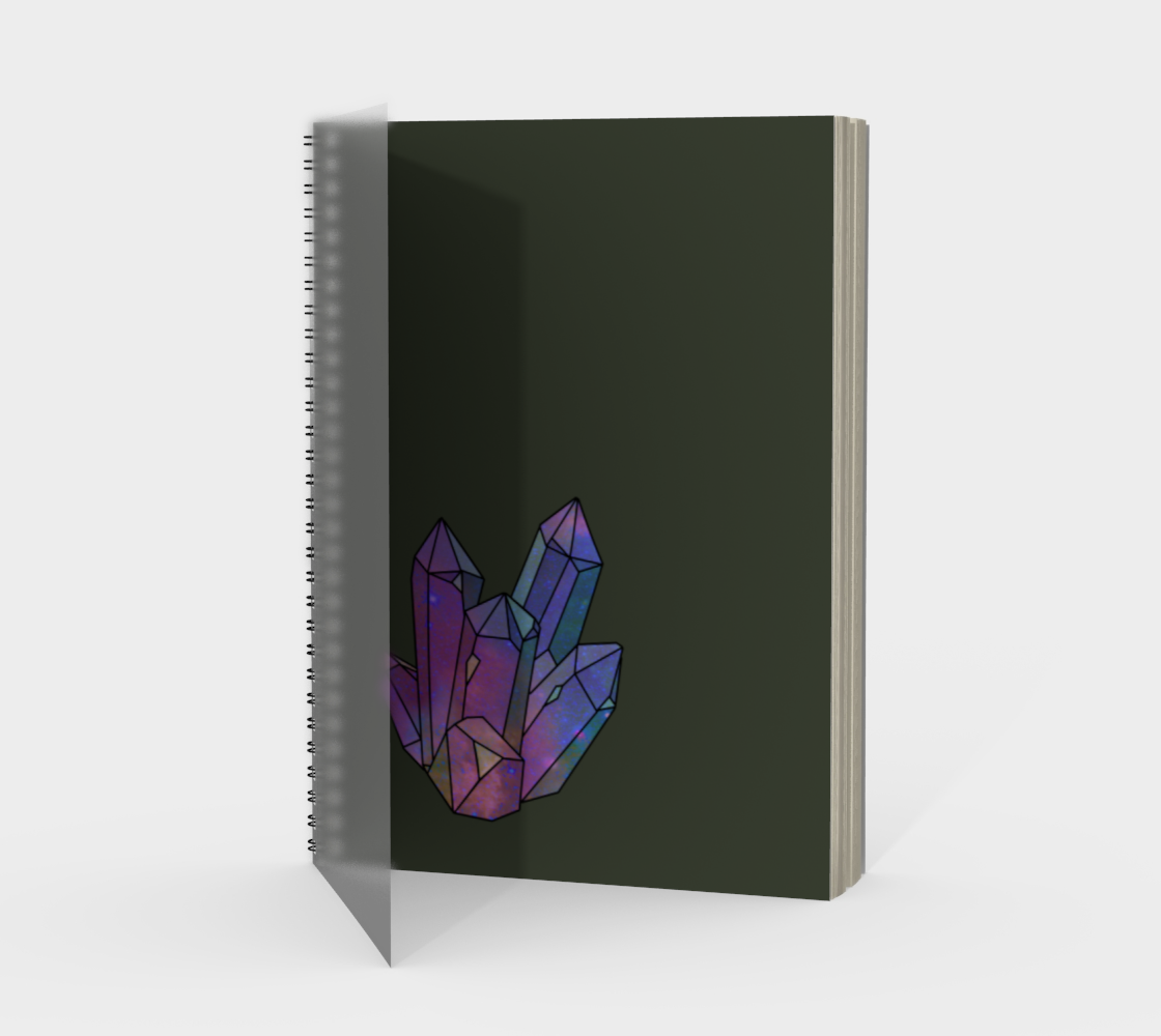 Cosmic Crystals Amethyst Rainbow Spiral Notebook Sage preview