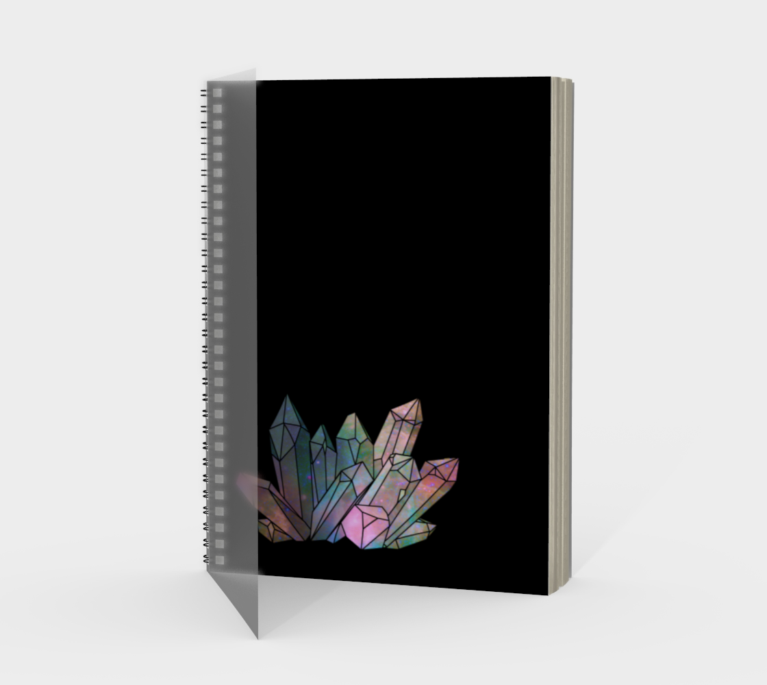 Cosmic Crystals Rainbow Spiral Notebook Black preview