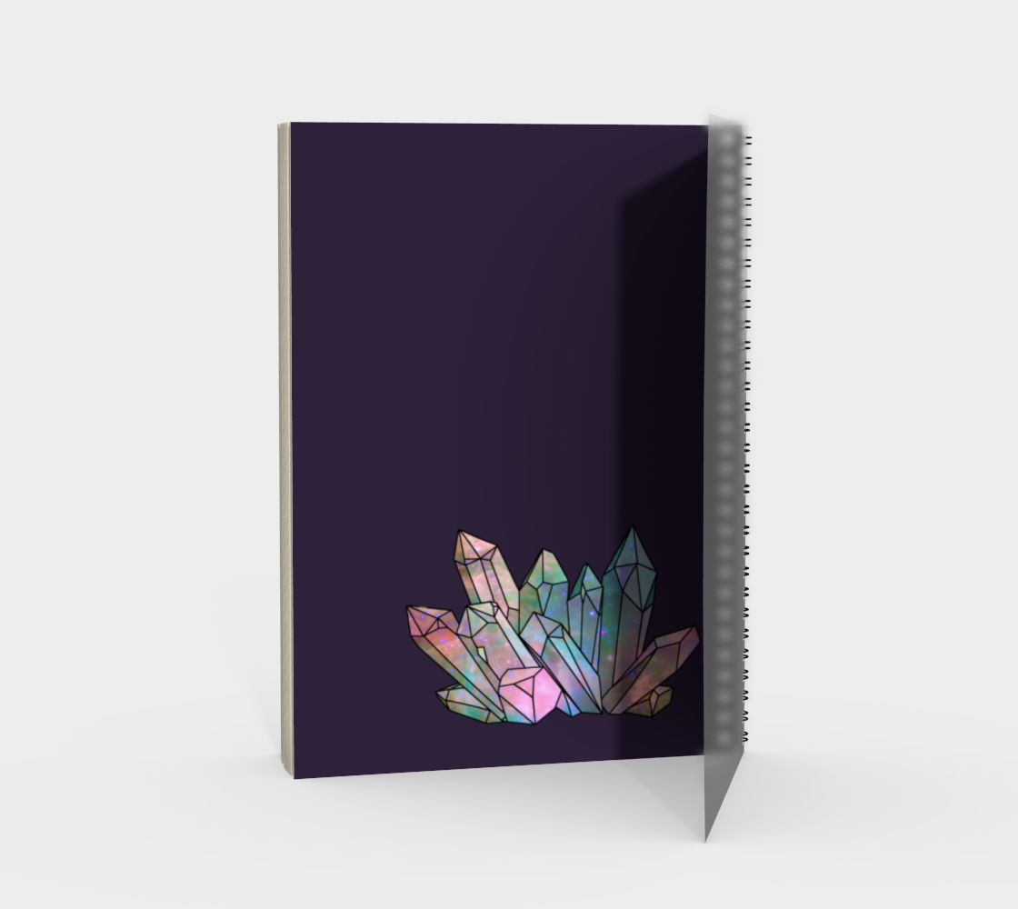 Cosmic Crystals Rainbow Spiral Notebook Dark Lilac preview #2