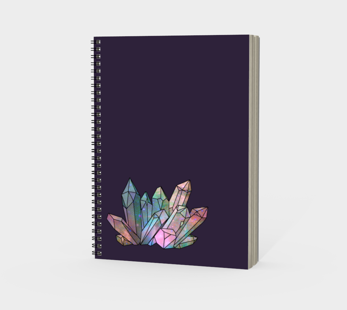Cosmic Crystals Rainbow Spiral Notebook Dark Lilac preview #3