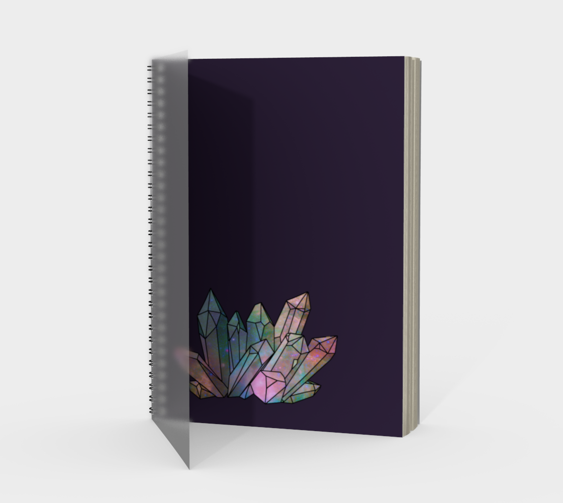 Cosmic Crystals Rainbow Spiral Notebook Dark Lilac preview