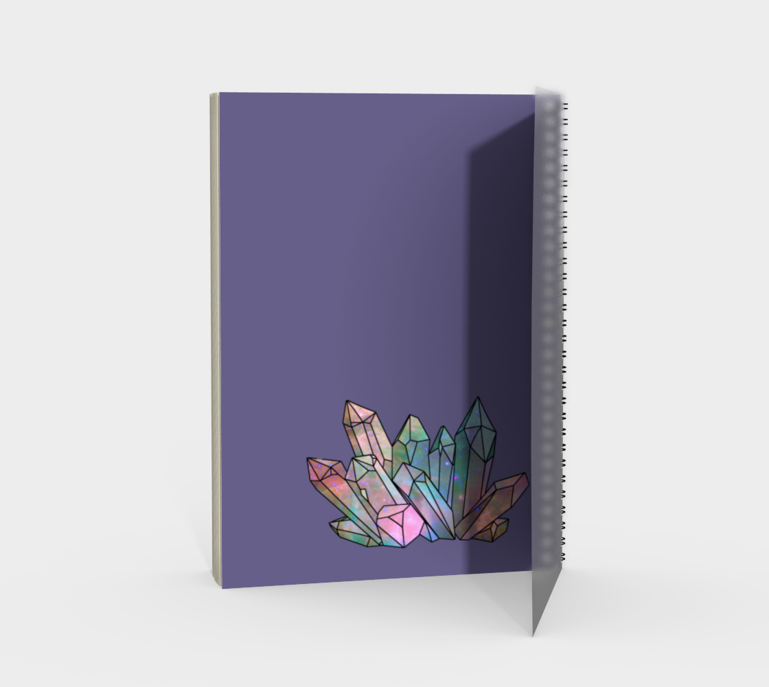 Cosmic Crystals Rainbow Spiral Notebook Lavender preview #2