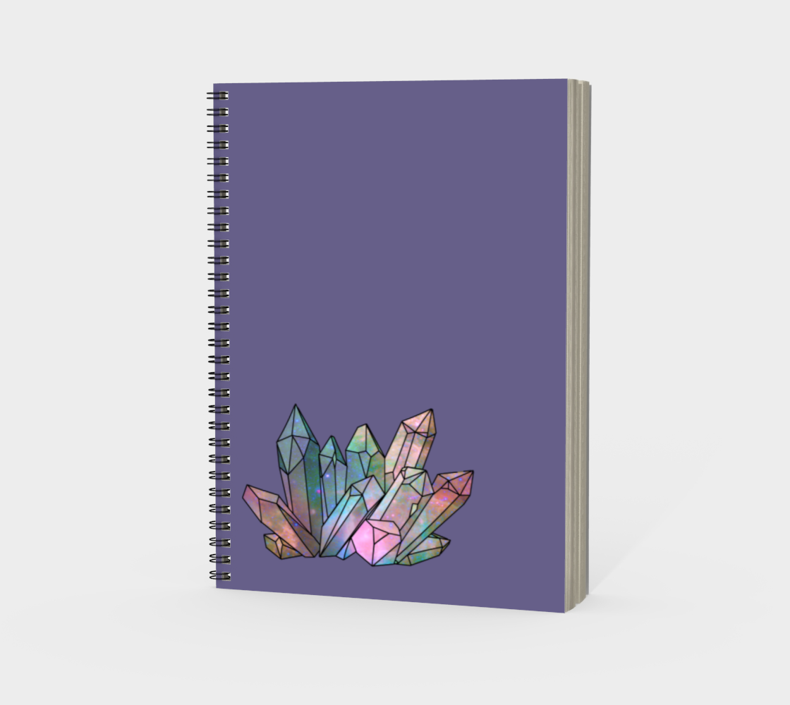 Cosmic Crystals Rainbow Spiral Notebook Lavender preview #3