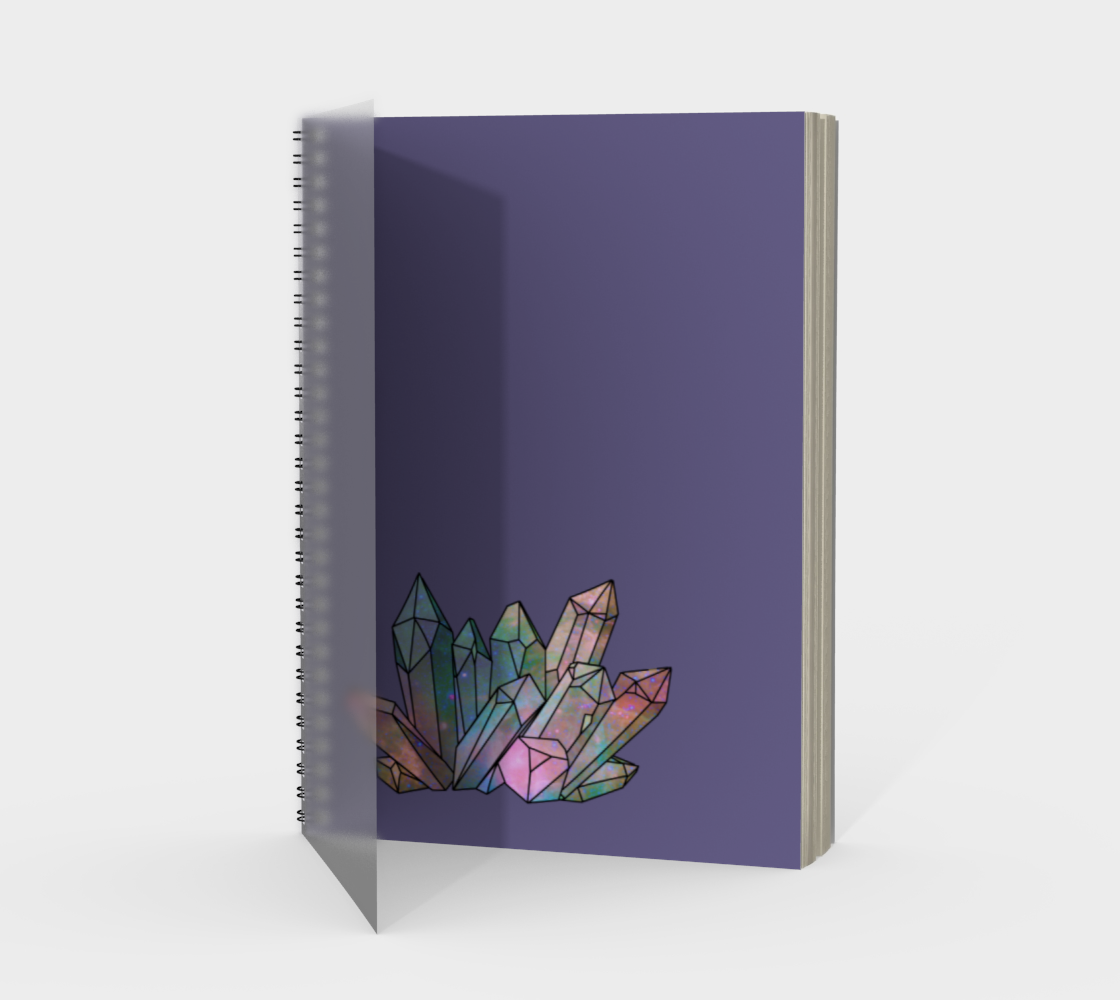 Cosmic Crystals Rainbow Spiral Notebook Lavender preview