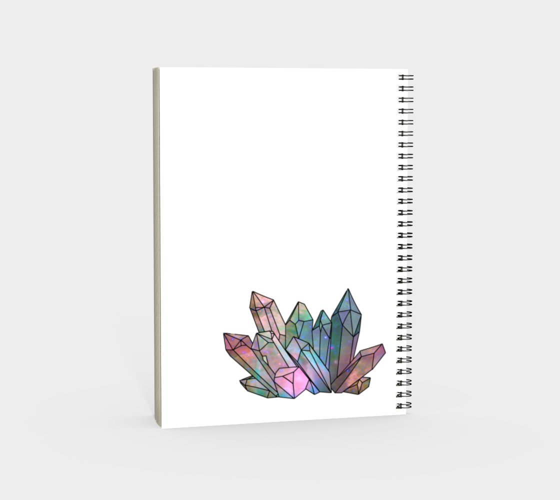 Cosmic Crystals Rainbow Spiral Notebook White preview #4