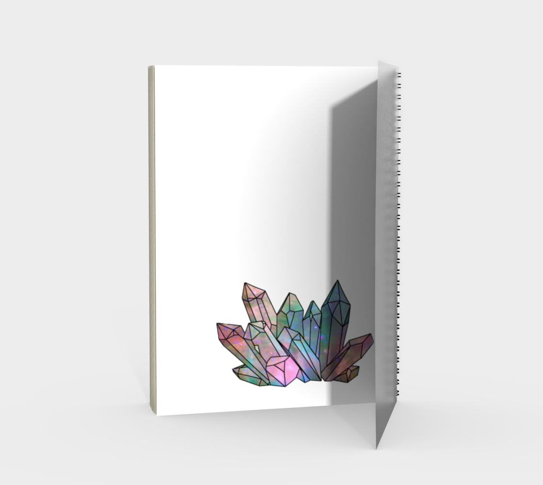 Cosmic Crystals Rainbow Spiral Notebook White preview #2