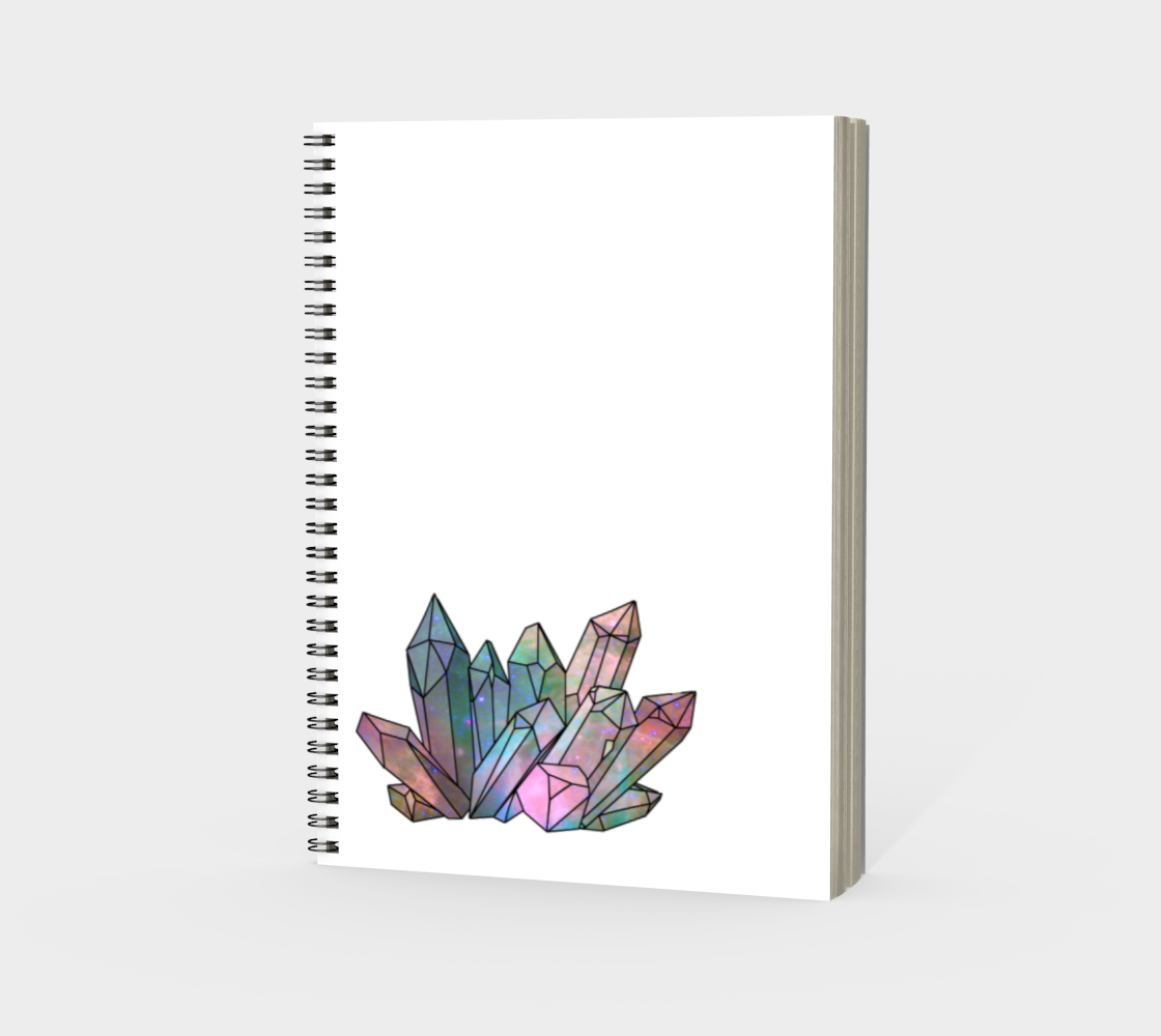 Cosmic Crystals Rainbow Spiral Notebook White preview #3