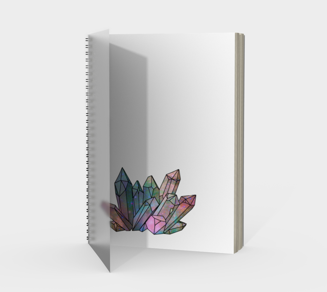 Cosmic Crystals Rainbow Spiral Notebook White preview #1