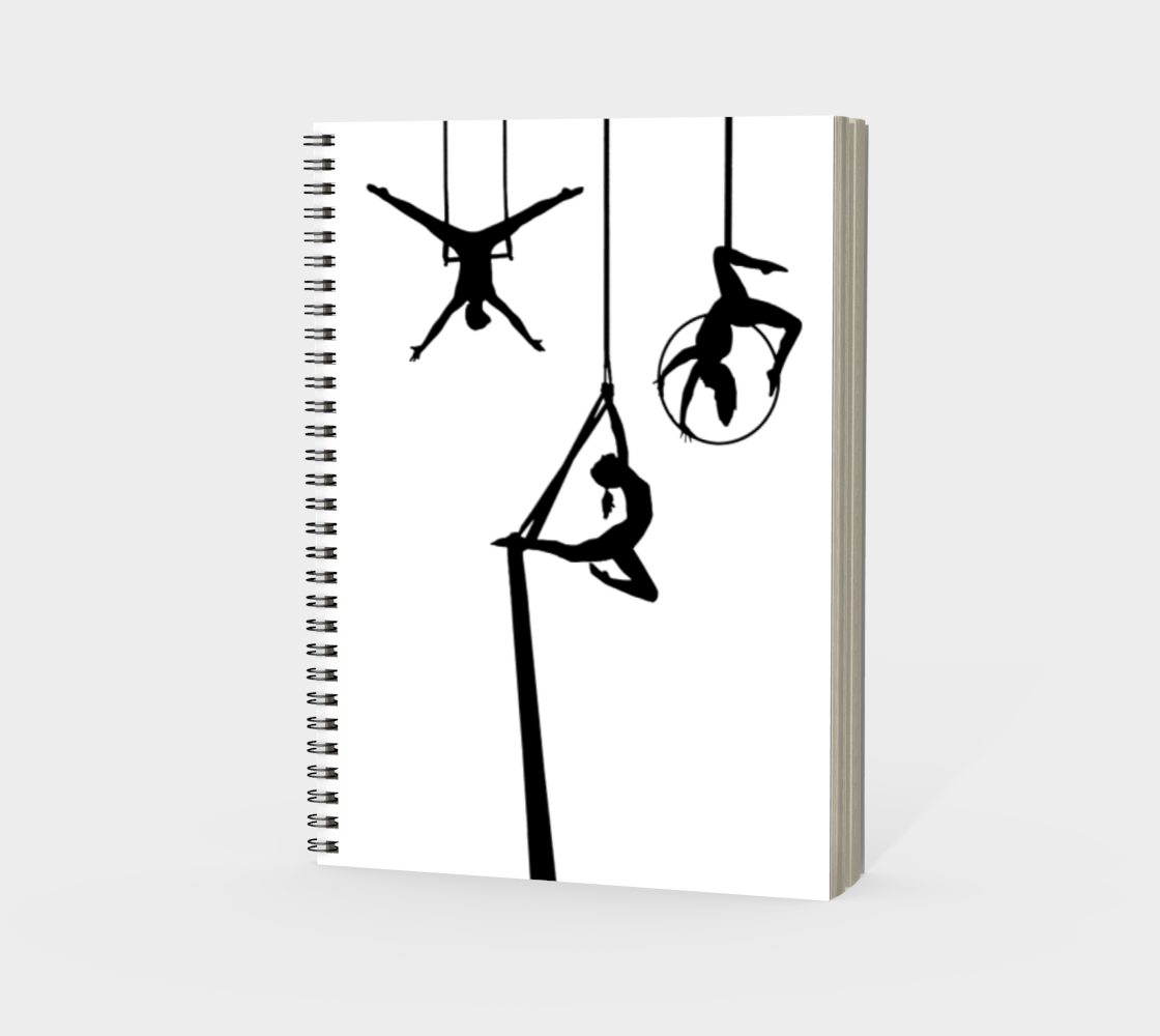Aerial Circus Spiral Notebook Black and White preview #3