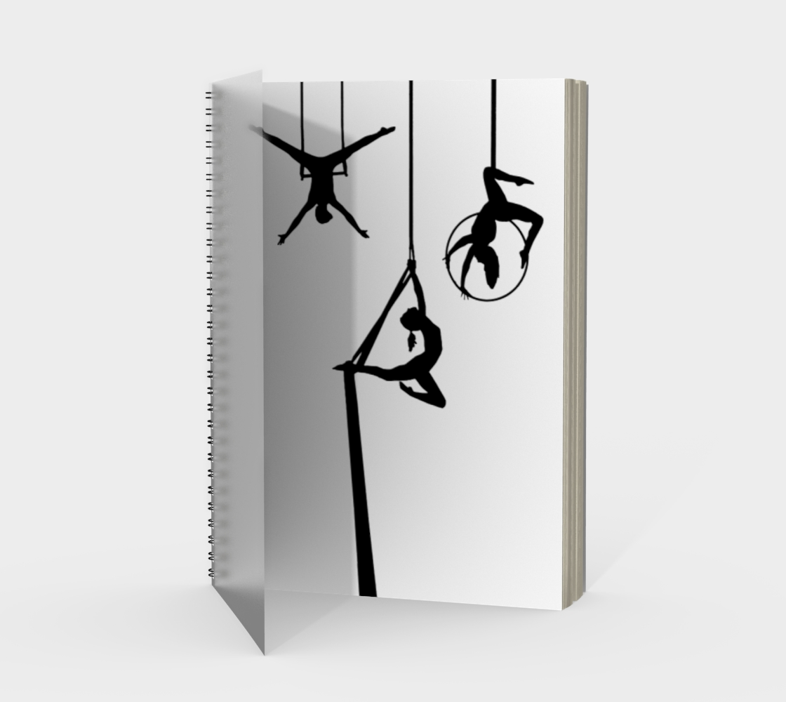 Aerial Circus Spiral Notebook Black and White preview