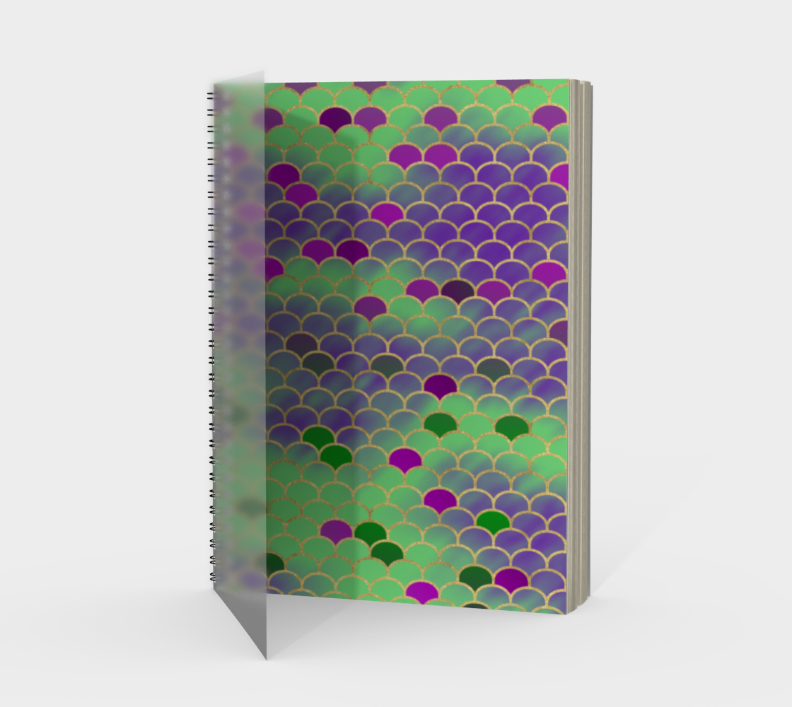 Green and Purple Mermaid Scales Spiral Notebook preview