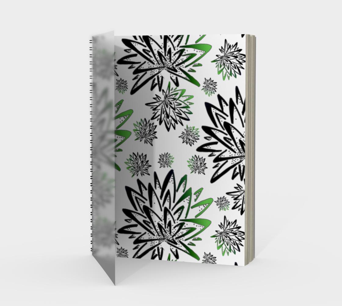 Aperçu de Abstract Green Thistles Pattern Spiral Notebook