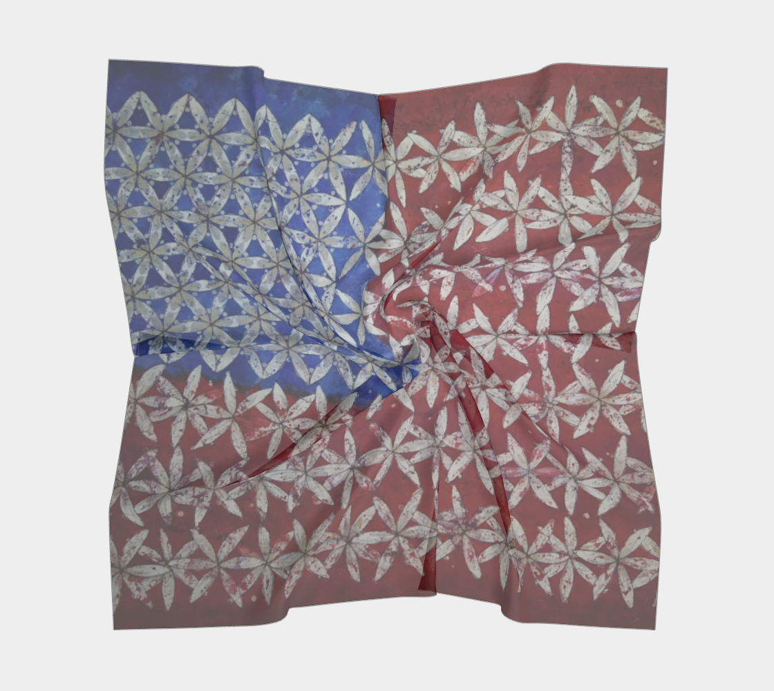 Make America Bloom Again - Flag Inspired Red White & Blue Flower of Life Square Scarf preview #5