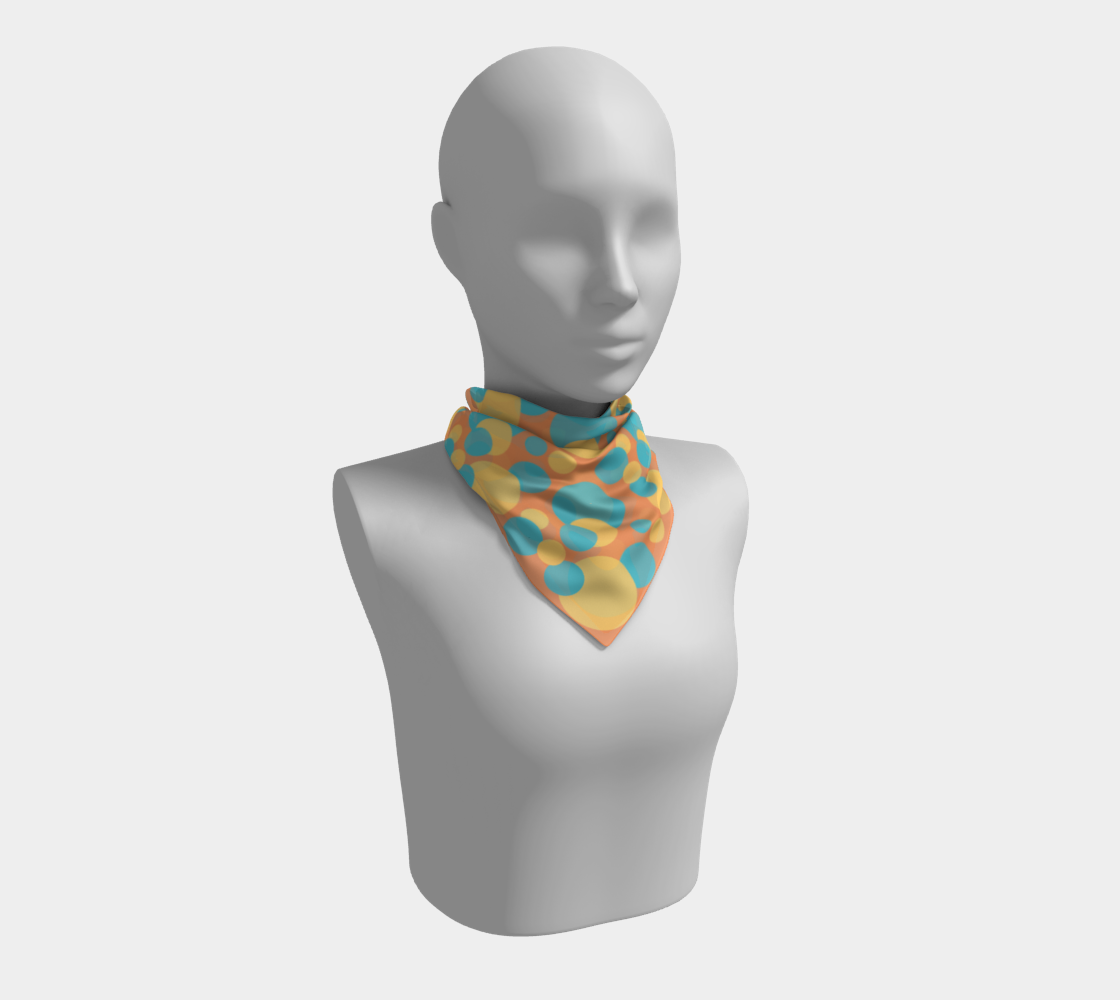 Retro Square Scarf in Blue and Yellow Dot Pattern preview