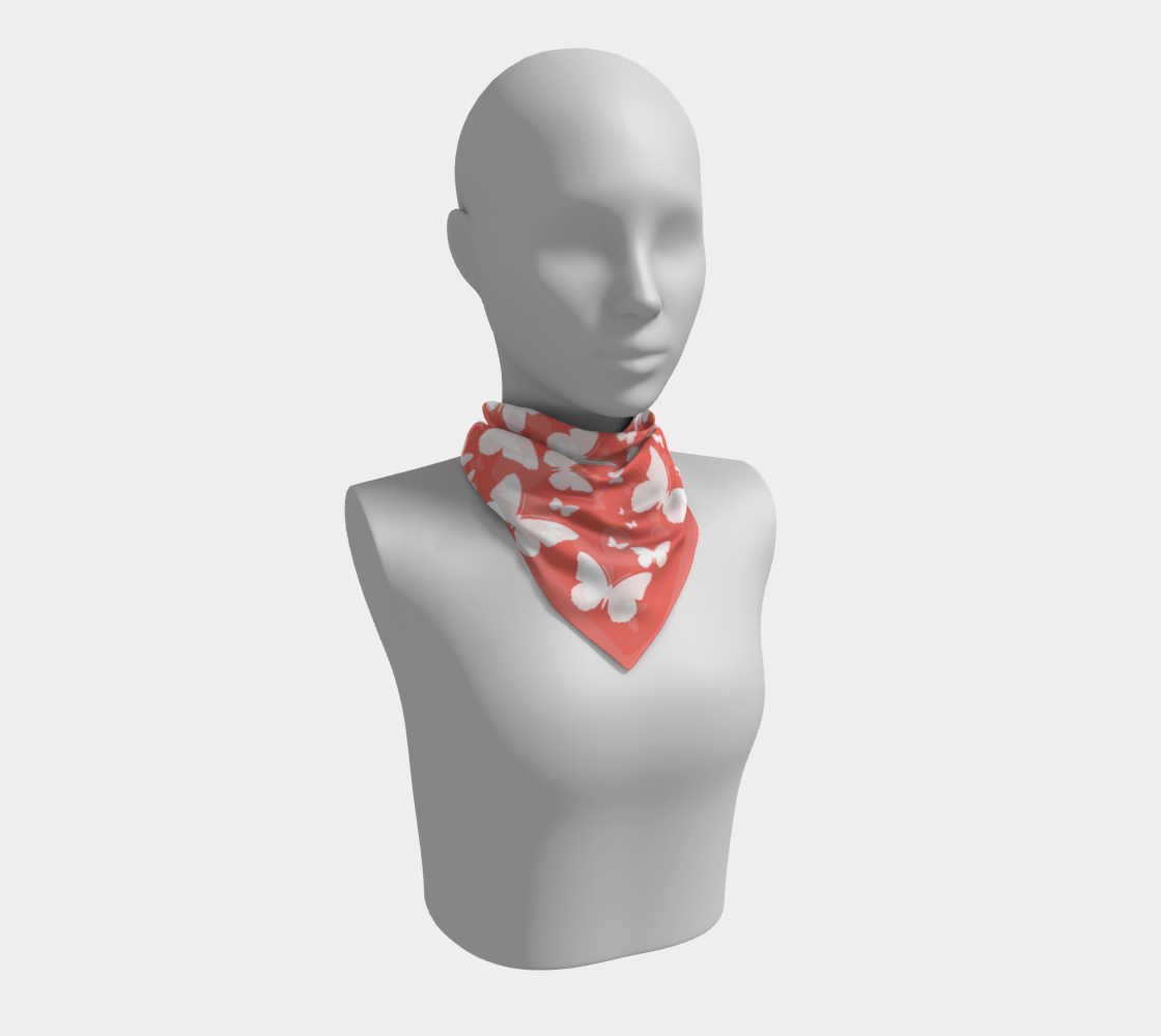 Butterflies in Coral and White Square Scarf preview