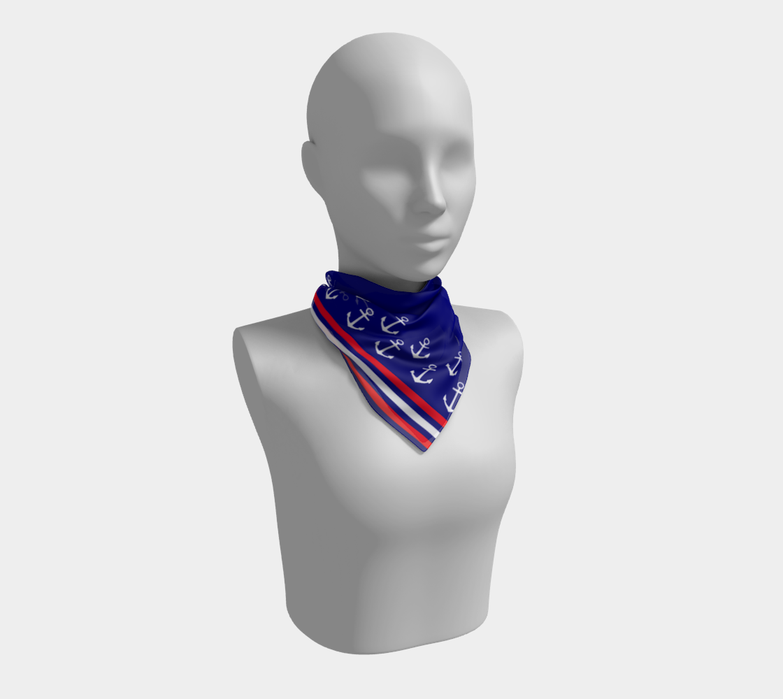 Blue and Red Nautical Stripe Anchor Square Scarf preview