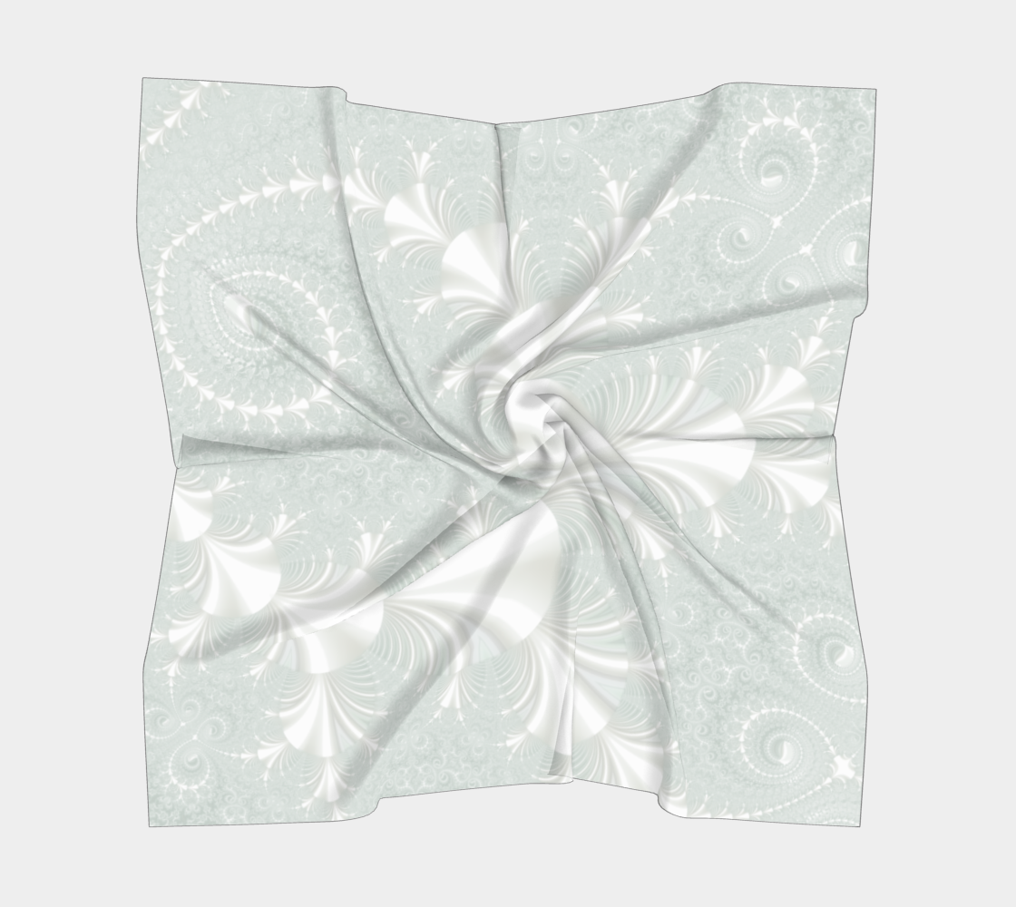 Decorative Floral Swirl Pattern In Light Sea Foam and White  preview #5