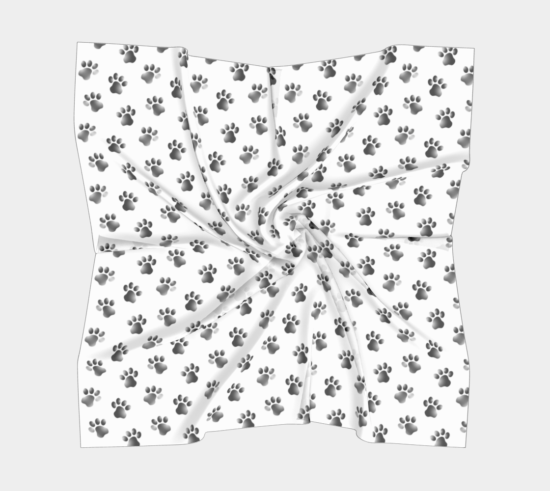 Animal Paw Prints Pattern Black and White preview #5
