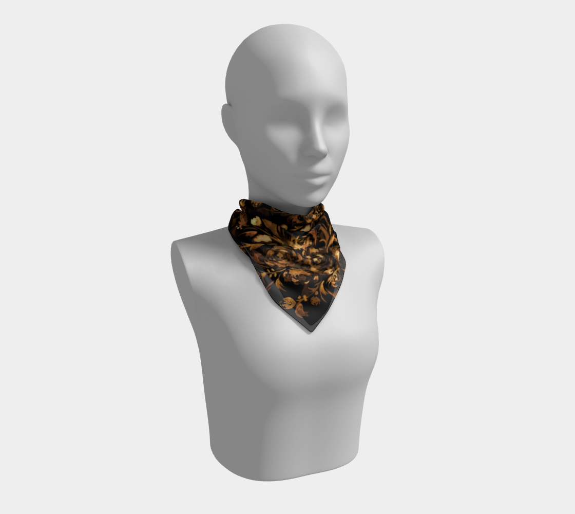 Golden Roses on Black Square Scarf preview