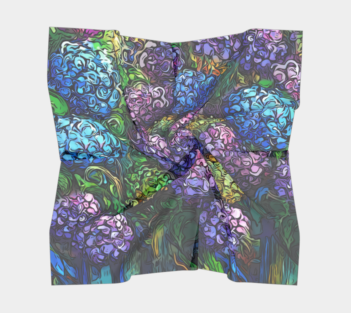 Hydrangeas - Graphic Style, Cool Tones  preview #5
