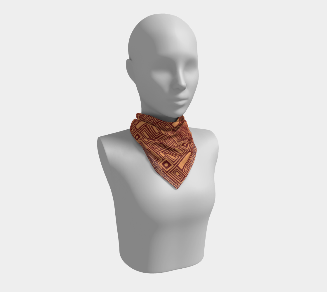 Brown Geometric Aztec Pattern Square Scarf preview