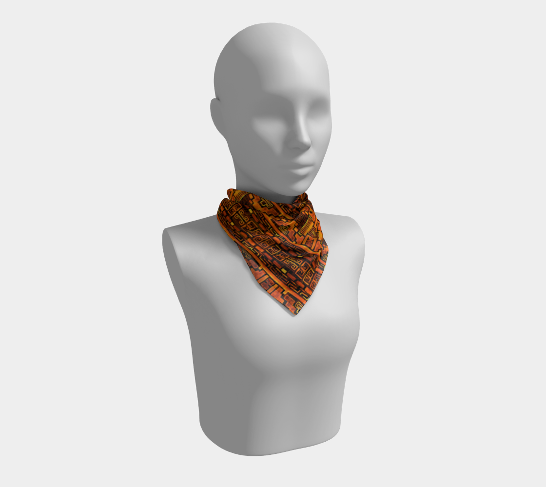 Bronze Aztec Tribal Pattern Square Scarf preview