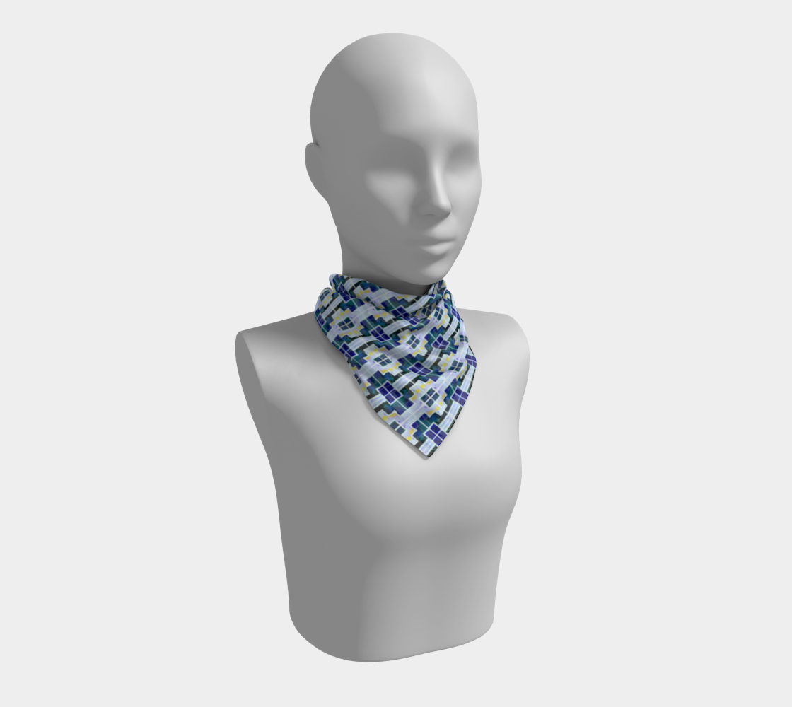 Blue and White Mosaic Tiles Pattern Square Scarf preview