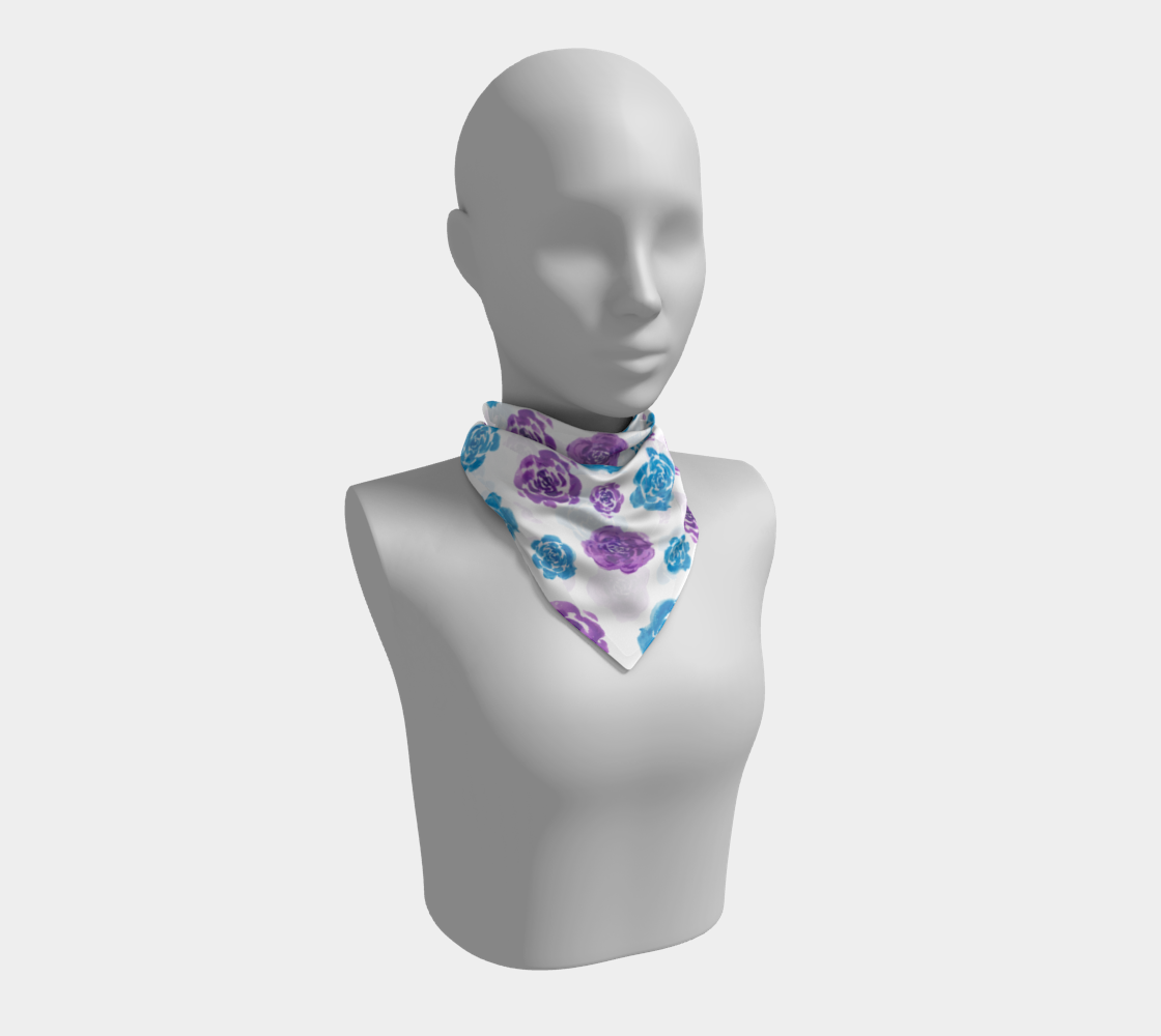 Blue and Purple Roses Floral Pattern Square Scarf preview