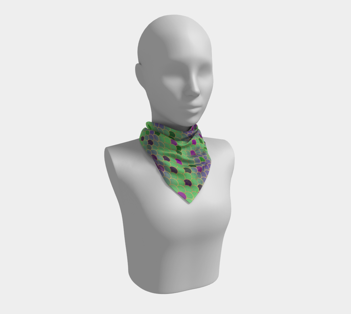 Green and Purple Mermaid Scales Square Scarf preview