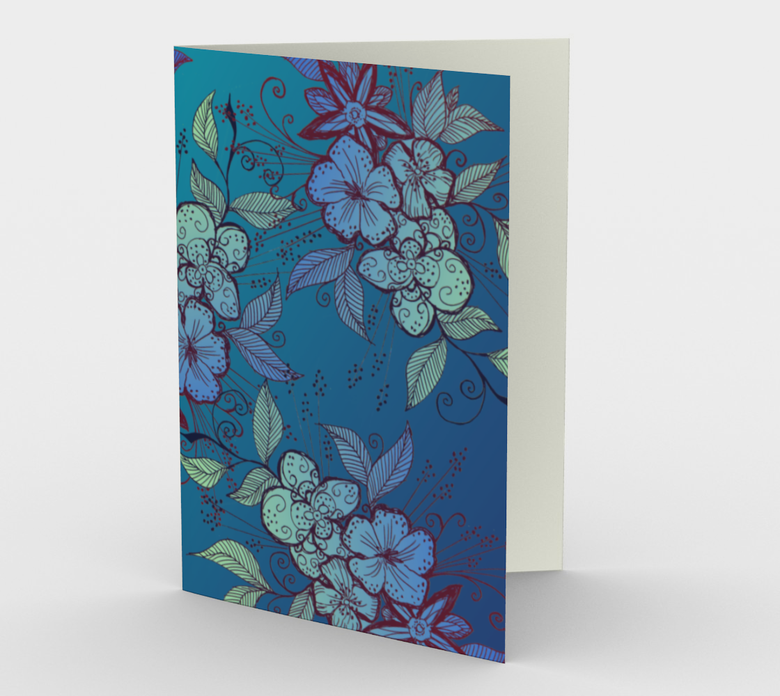 Blue and Turquoise Floral Pattern Stationery Card preview
