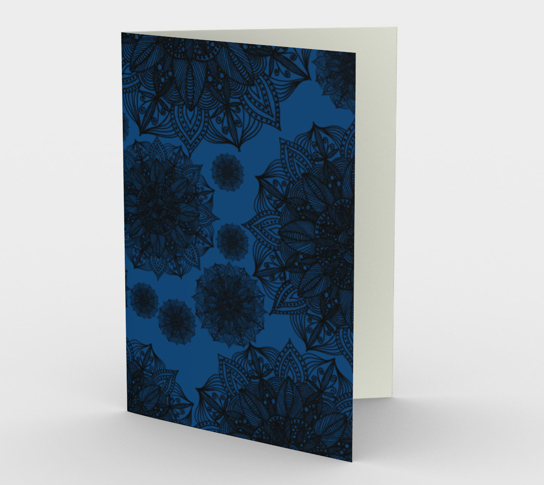 Black and Blue Mandala Pattern Stationery Card preview