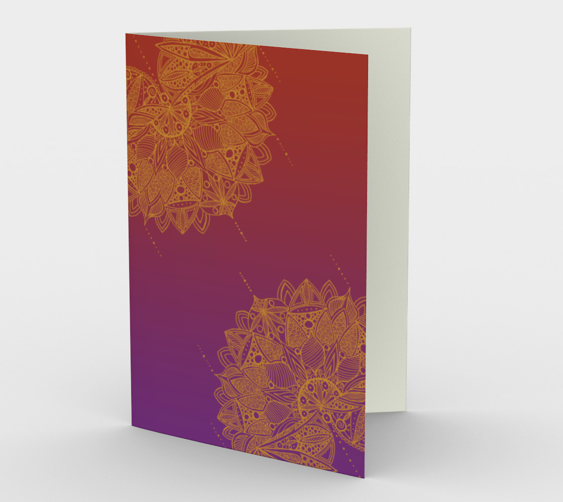Red and Purple Mandala Pattern Stationery Card preview