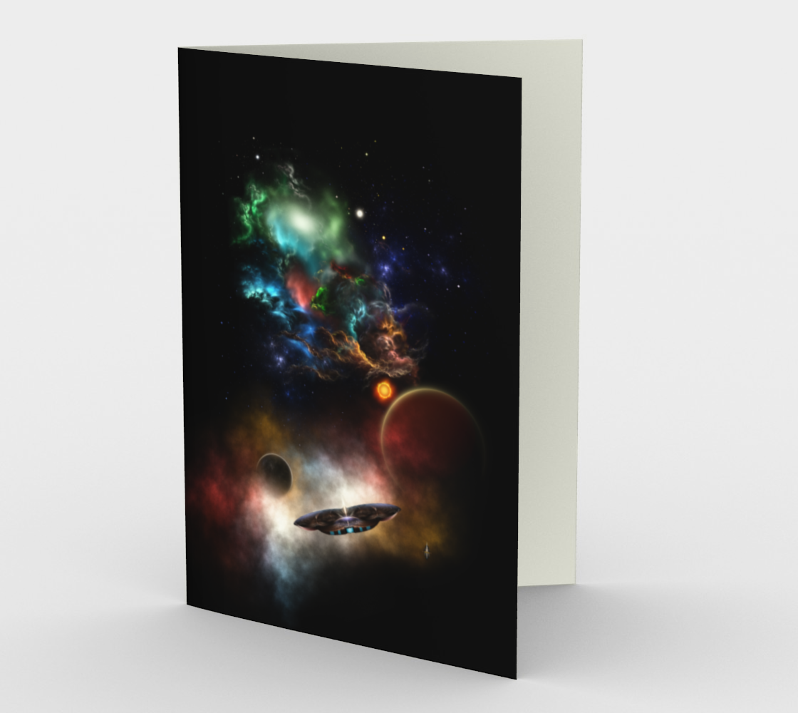 Beyond Space & Time Fractal Art II Spacescape Greetings Card preview #1