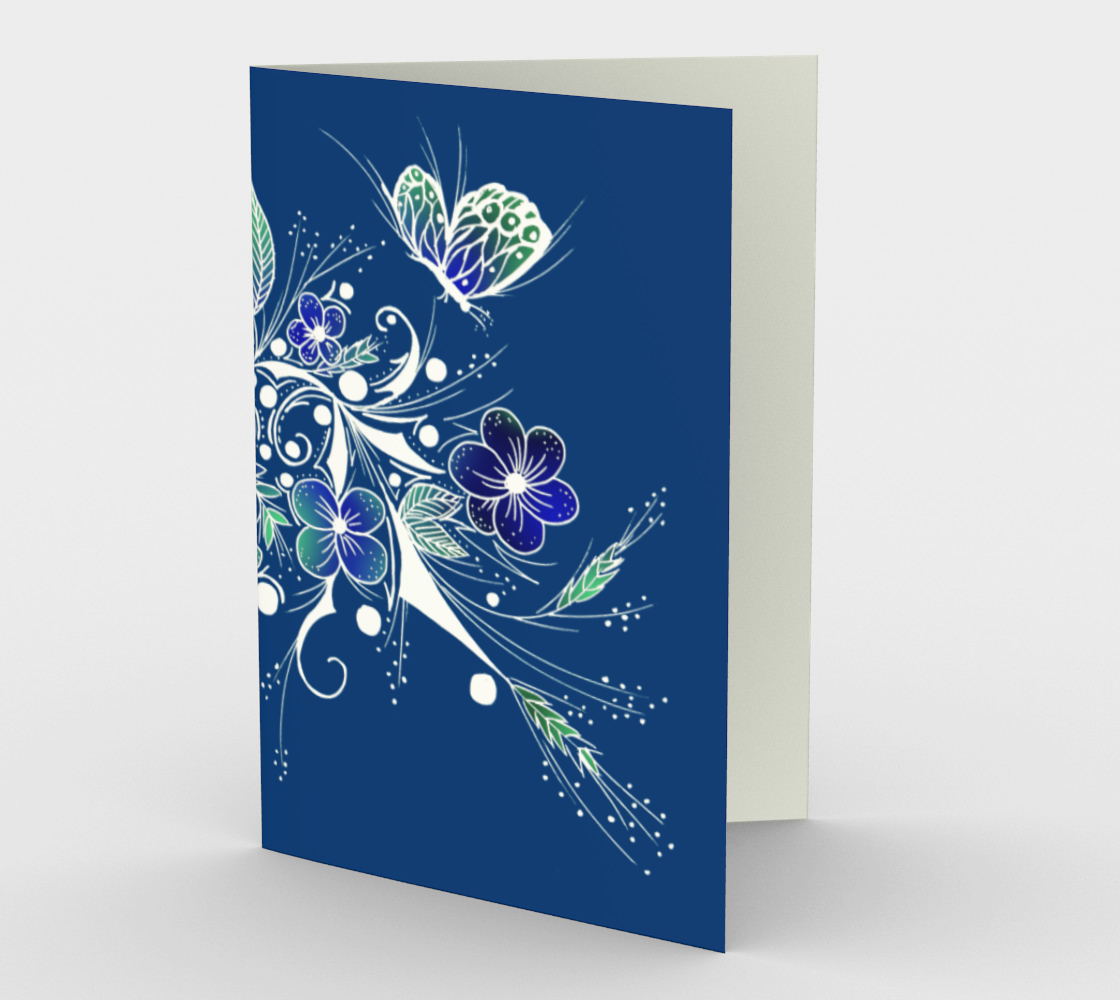 Blue Flower Tattoo Design Stationery Card preview