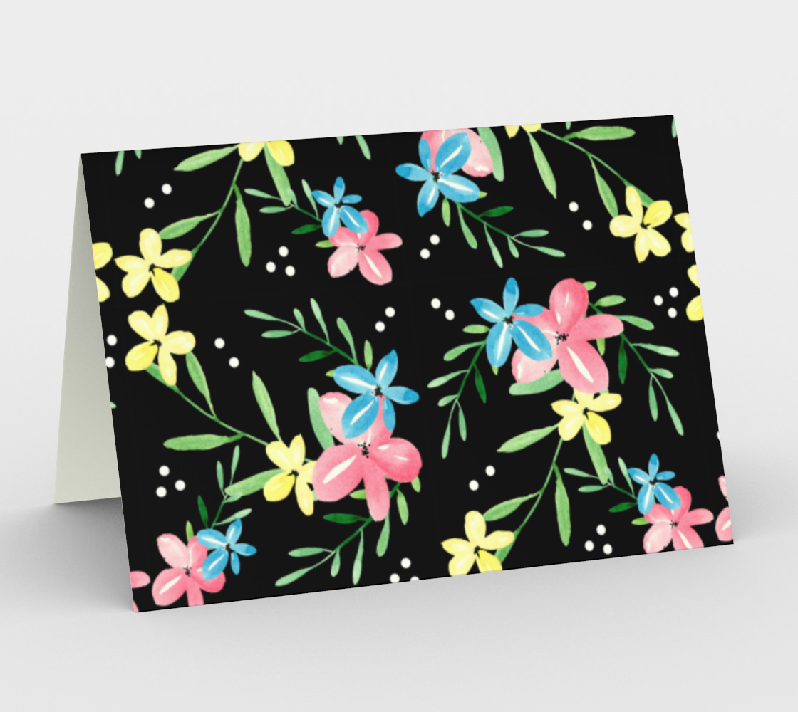 Floral Watercolor Stationery Card preview