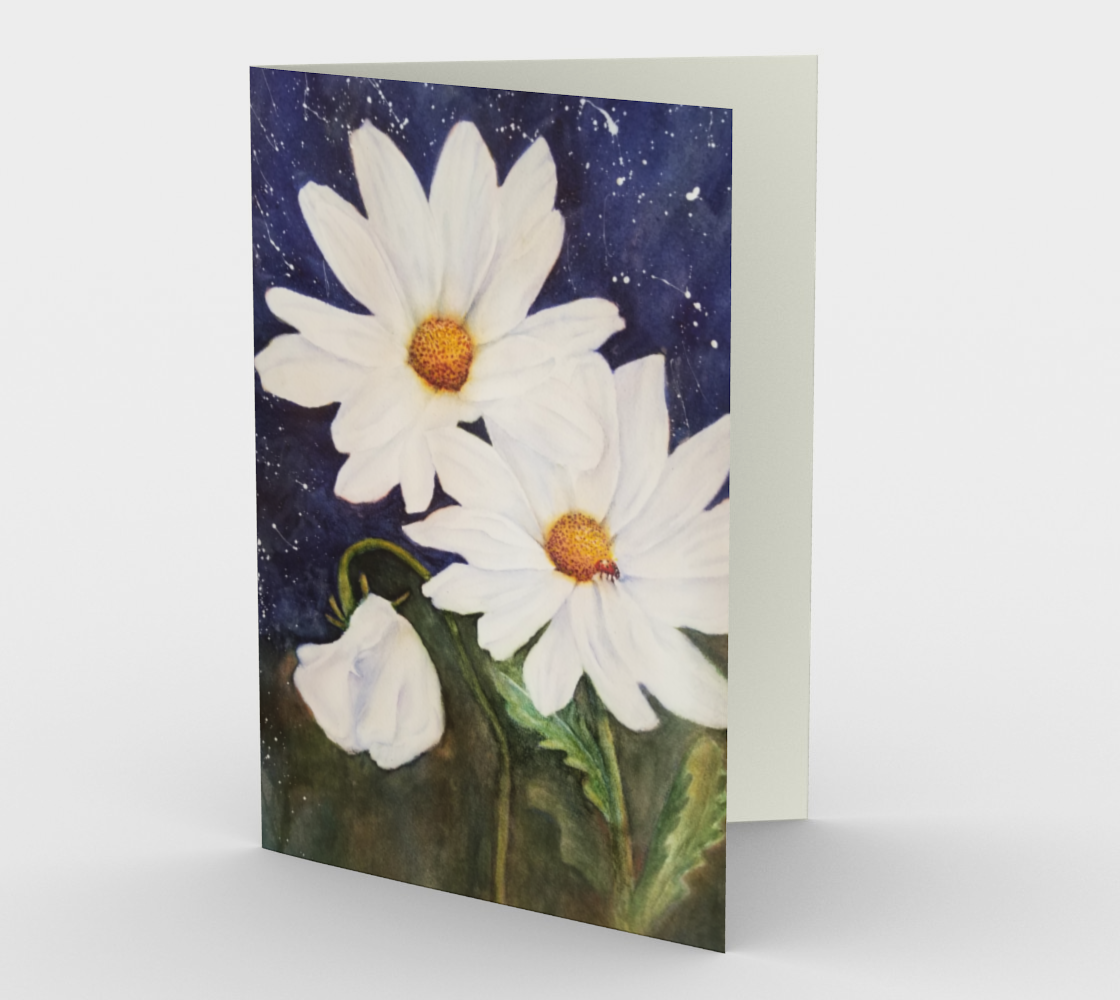 White Daisies and Sweet Pea Greeting Card preview