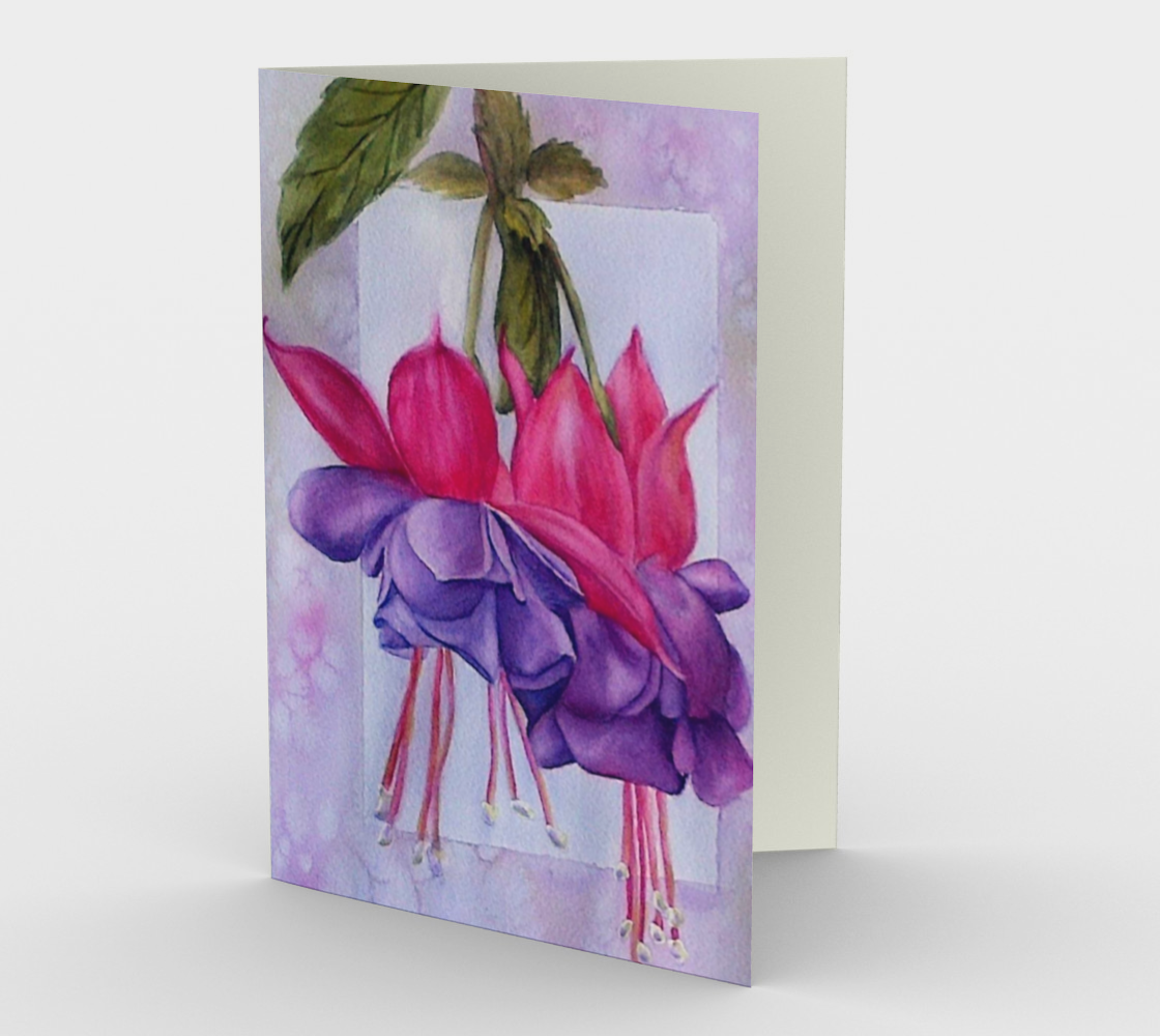 Pink Purple Fuchsia Flowers Greeting Card preview