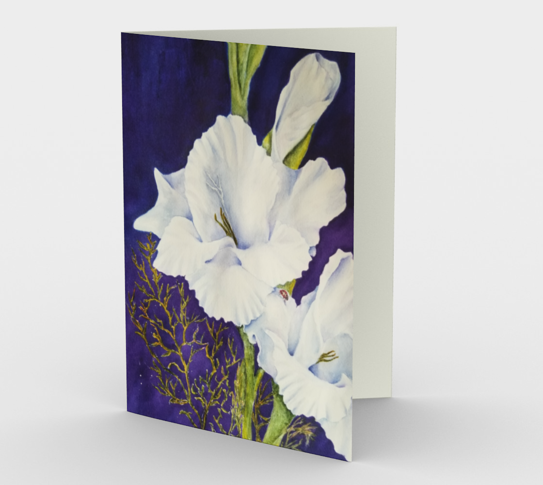 White Gladiola Flowers Greeting Card preview