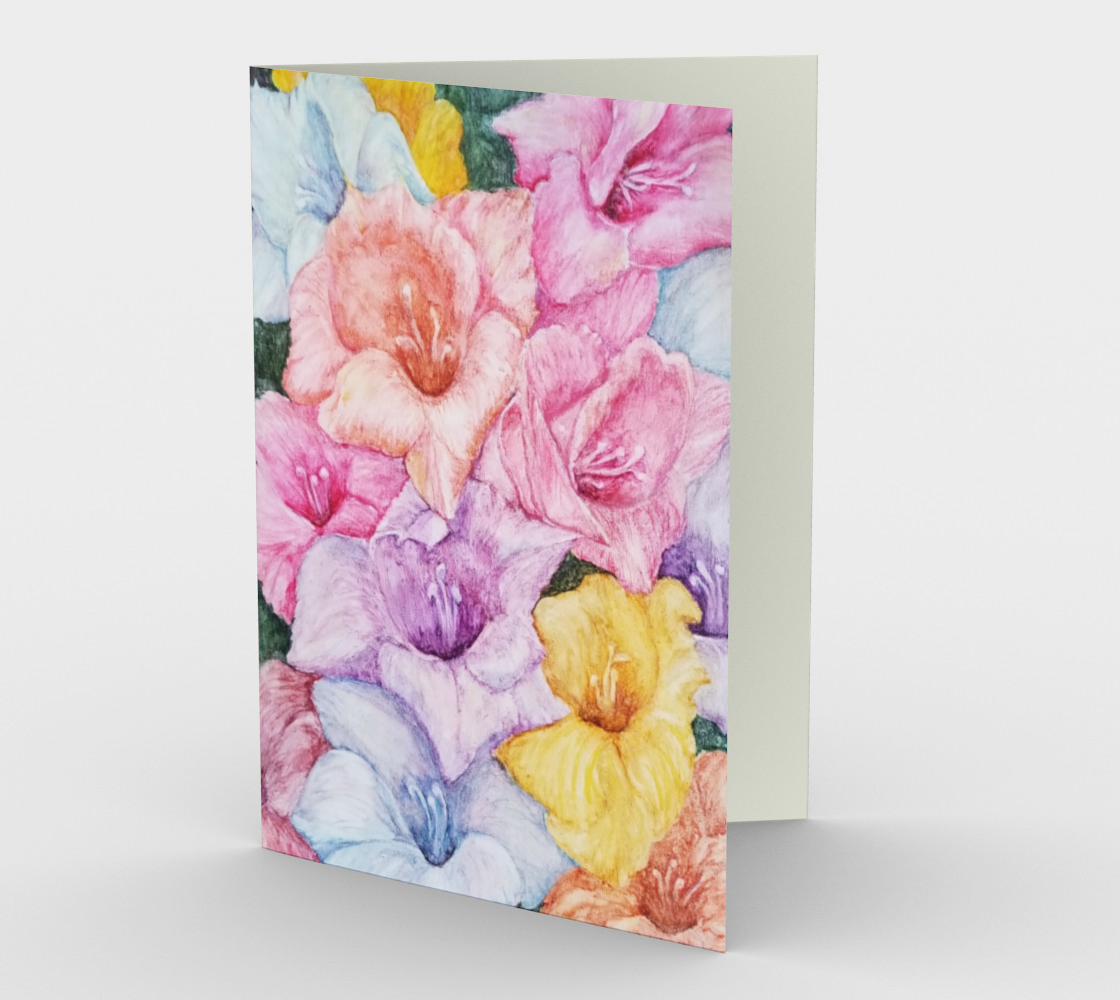 Multi-Colored Gladiola Flowers Greeting Card preview
