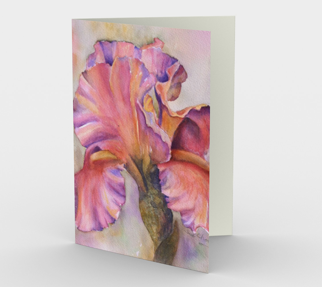 Colorful Pink Iris Flower Greeting Card preview
