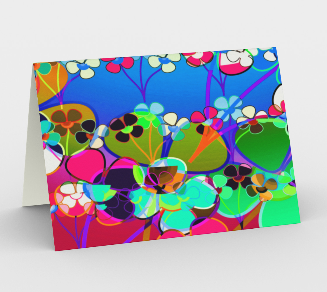 Abstract Colorful Flower Blue Background Art Card, AWSD  preview