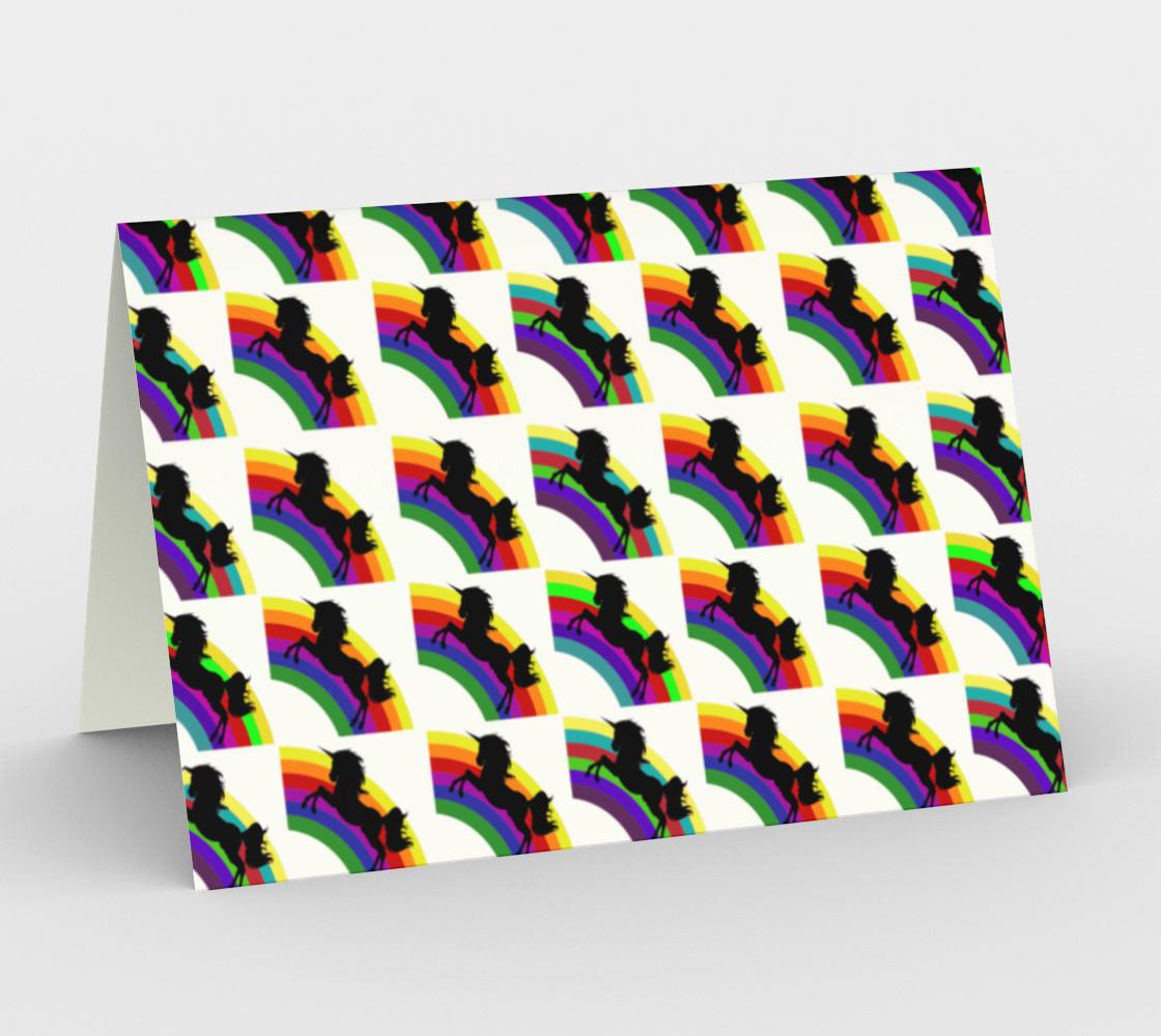 Black Unicorn and Rainbow Greeting Card, AWSD preview