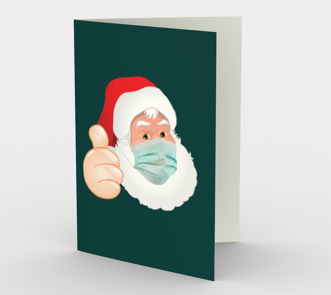 Face Mask Santa Claus Vertical Greeting Card preview