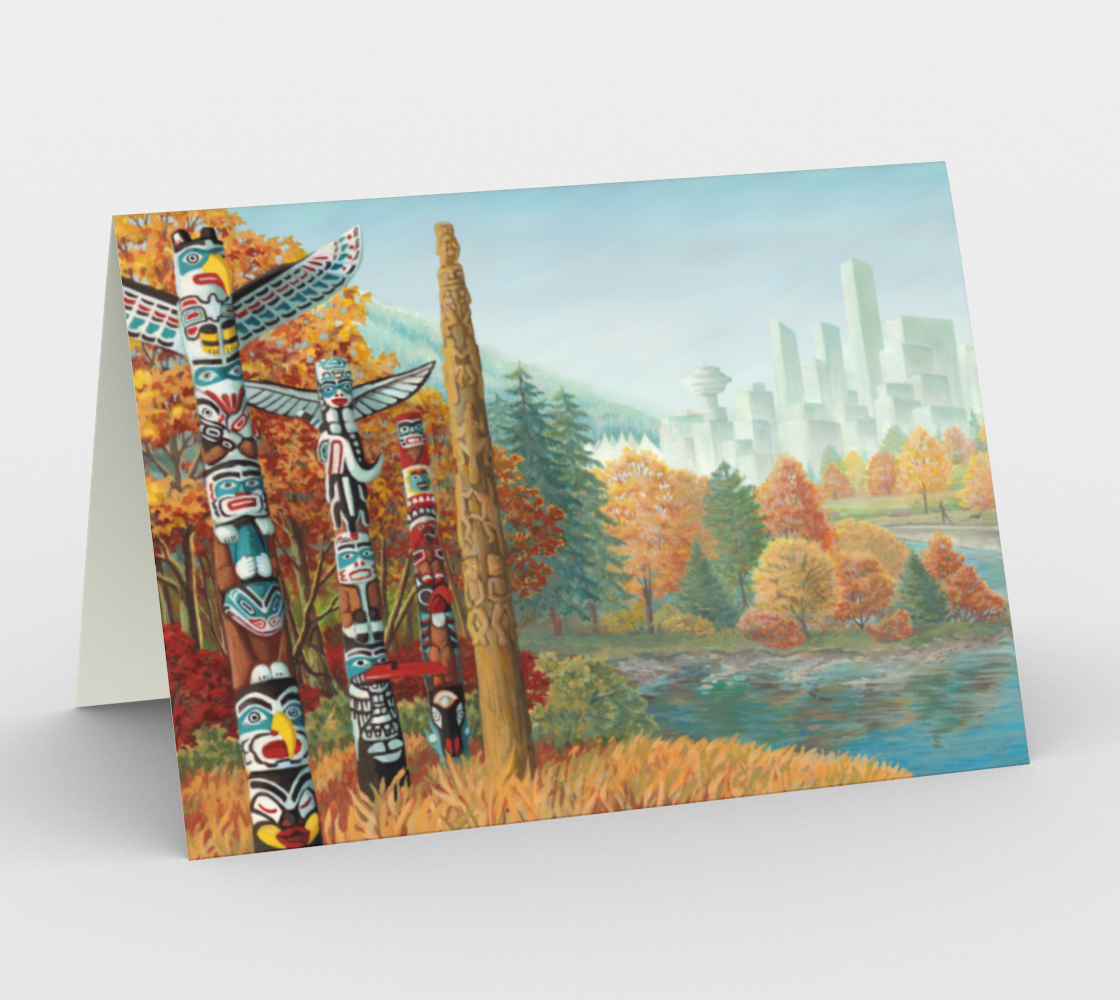 Vancouver Canada Cards Landscape Painting - Two Worlds Collide preview