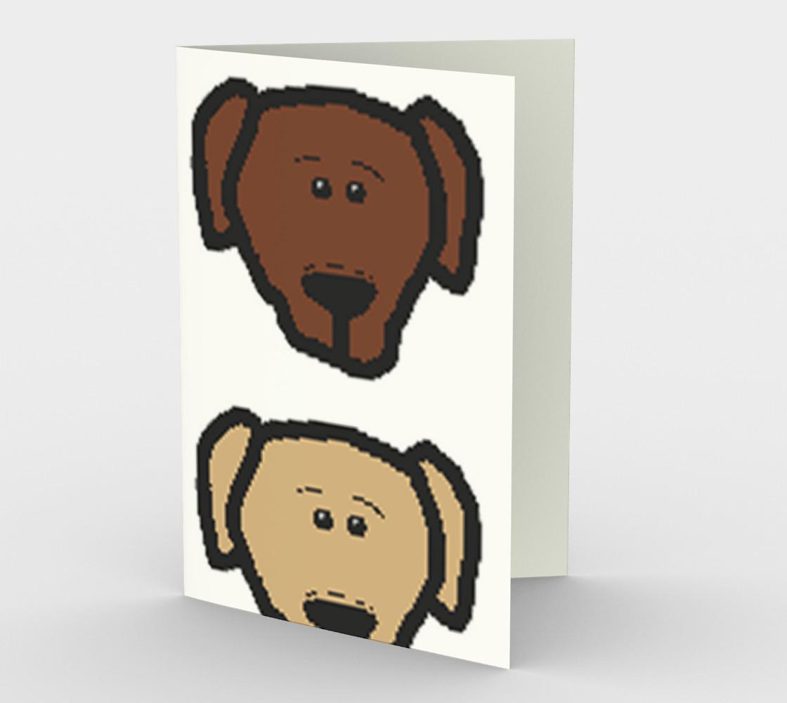 Labrador Retriever all 3 colors cartoon heads stationary greeting card preview